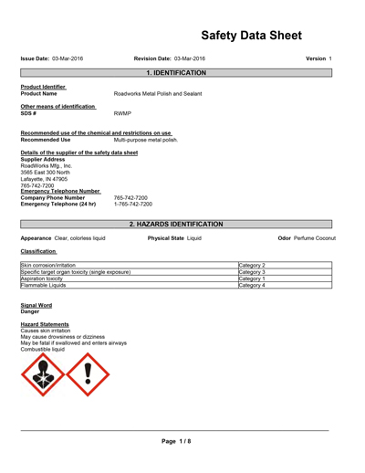 metal polish safety data sheet