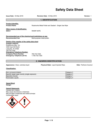metal polish and sealant single use wipe safety data sheet